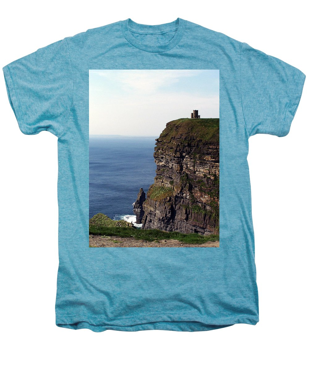 Irish Men's Premium T-Shirt featuring the photograph View Of Aran Islands And Cliffs Of Moher County Clare Ireland by Teresa Mucha