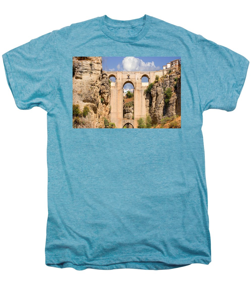 Ronda Men's Premium T-Shirt featuring the photograph View Of The Tajo De Ronda And The Puente Nuevo Bridge From Across The Valley by Mal Bray