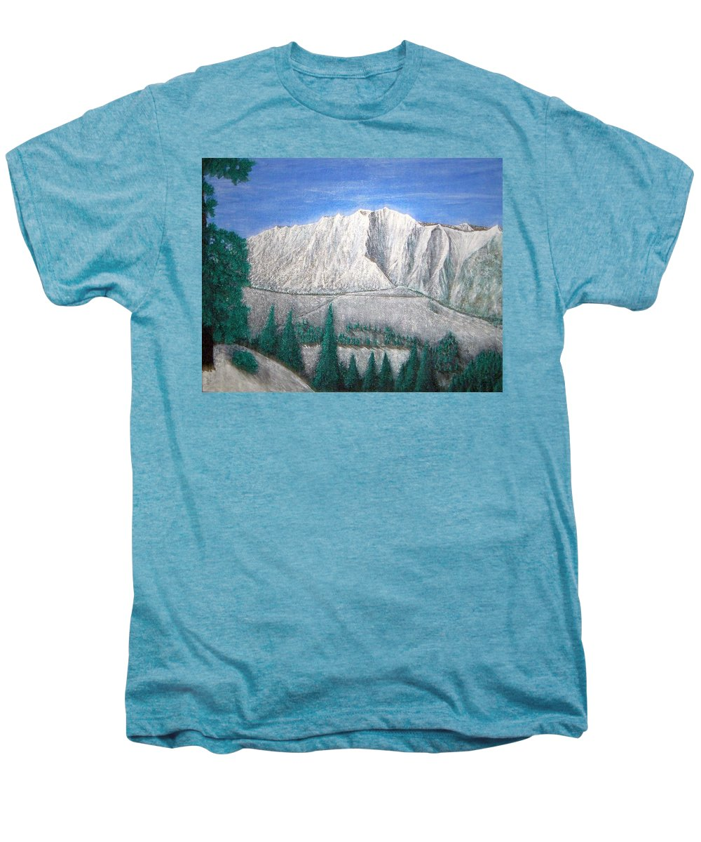 Snow Men's Premium T-Shirt featuring the painting Viewfrom Spruces by Michael Cuozzo