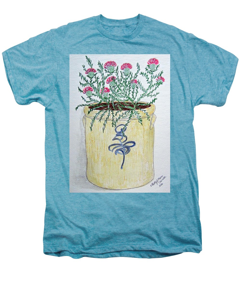 Vintage Men's Premium T-Shirt featuring the painting Vintage Bee Sting Crock And Thistles by Kathy Marrs Chandler