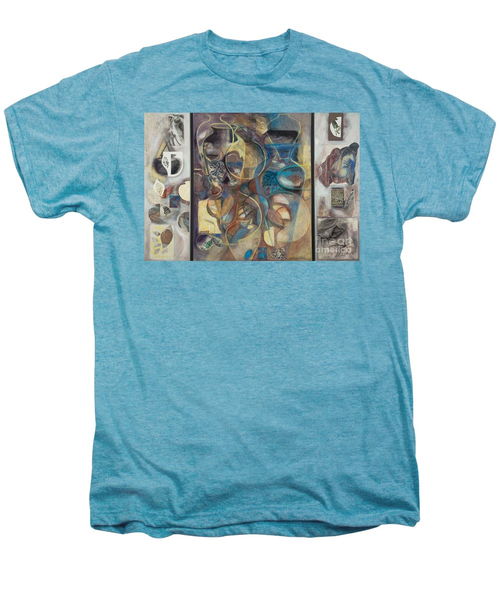 Vessels Men's Premium T-Shirt featuring the painting Visible Traces by Kerryn Madsen-Pietsch