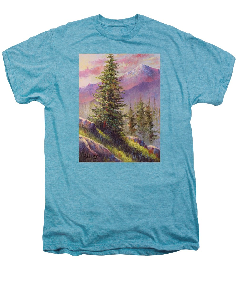 Mountain Men's Premium T-Shirt featuring the painting Vista View by David G Paul