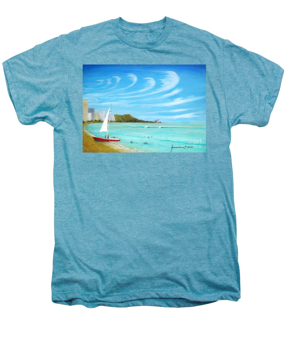 Waikiki Men's Premium T-Shirt featuring the painting Waikiki by Jerome Stumphauzer