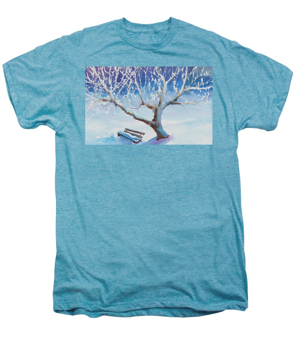 Snow Men's Premium T-Shirt featuring the painting Waiting For Spring by Ruth Kamenev