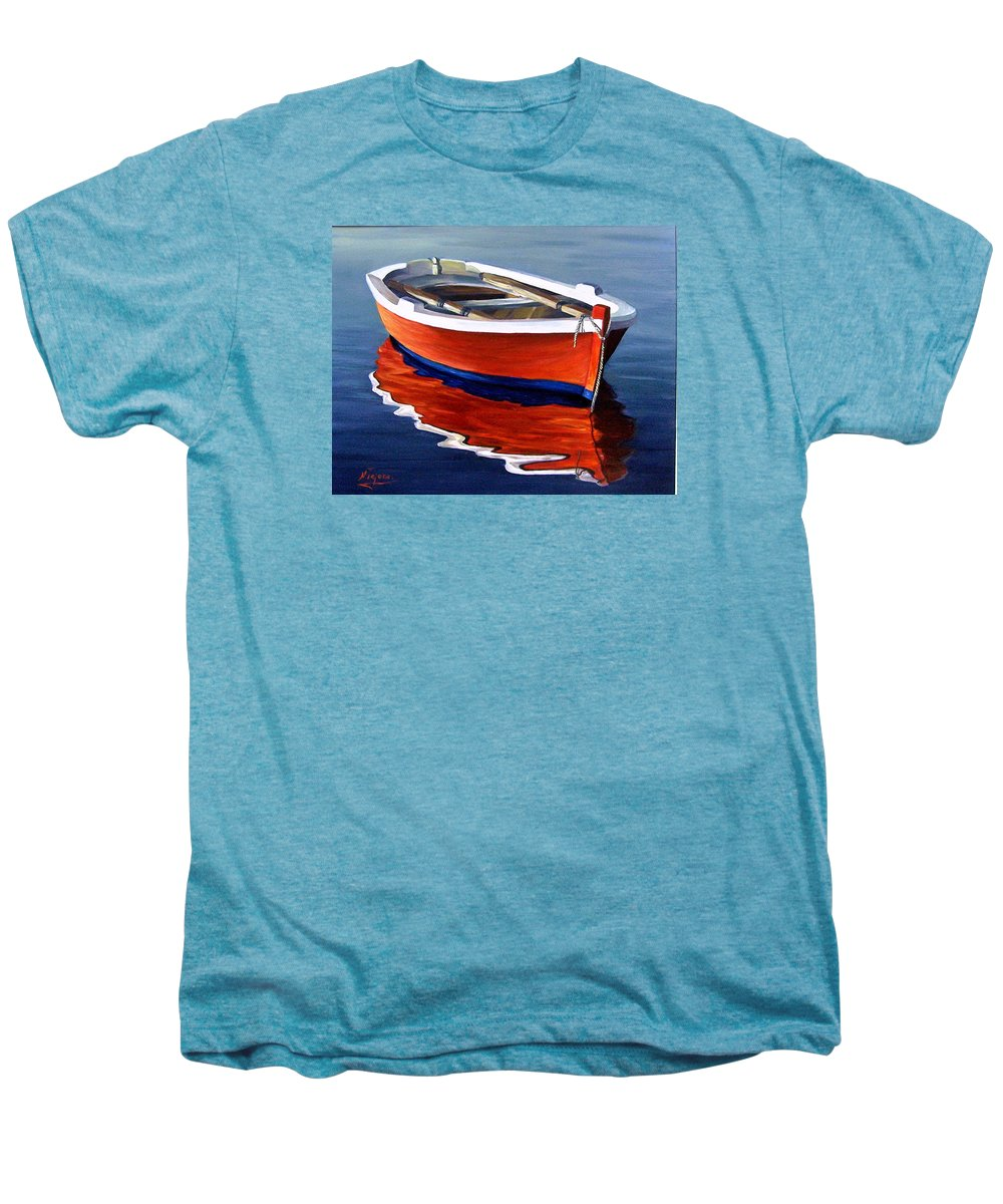 Seascape Water Boat Reflection Ocean Sea Men's Premium T-Shirt featuring the painting Waiting by Natalia Tejera
