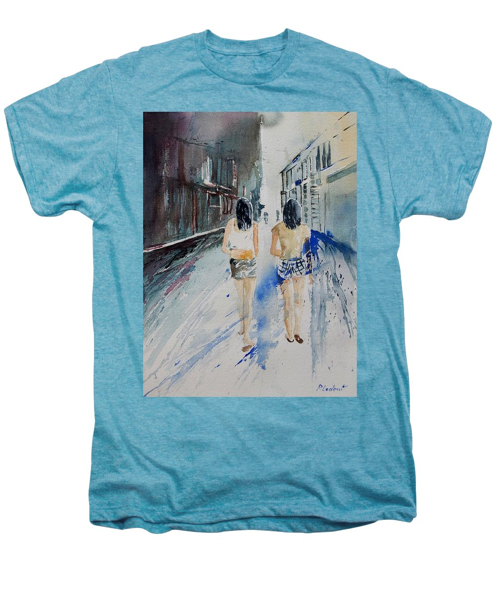 Girl Men's Premium T-Shirt featuring the painting Walking In The Street by Pol Ledent