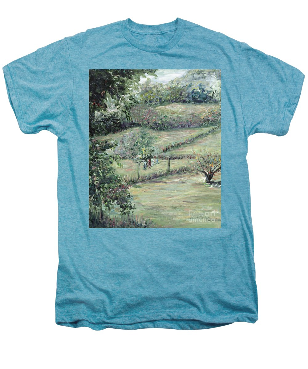Landscape Men's Premium T-Shirt featuring the painting Washday In Provence by Nadine Rippelmeyer