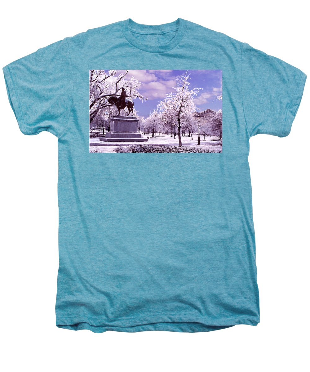 Landscape Men's Premium T-Shirt featuring the photograph Washington Square Park by Steve Karol