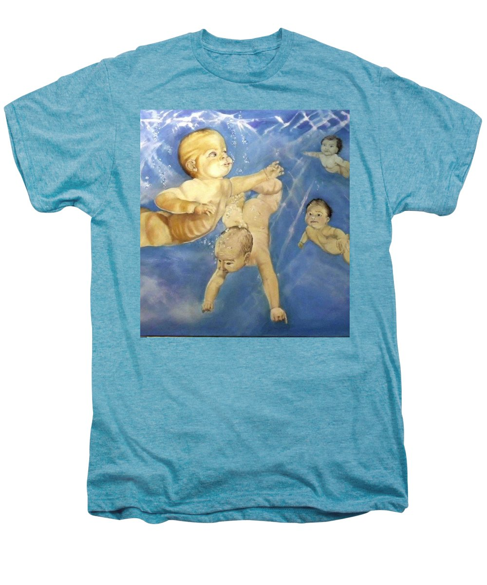 Babies Men's Premium T-Shirt featuring the painting Water Babies by Jane Simpson