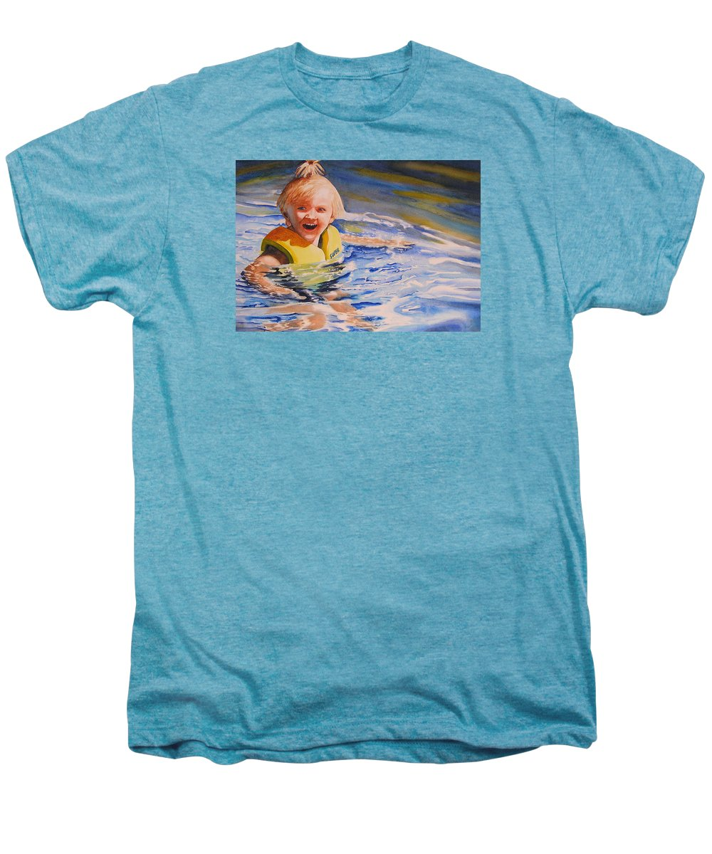 Swimming Men's Premium T-Shirt featuring the painting Water Baby by Karen Stark