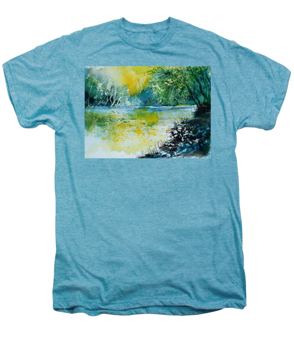Pond Men's Premium T-Shirt featuring the painting Watercolor 051108 by Pol Ledent