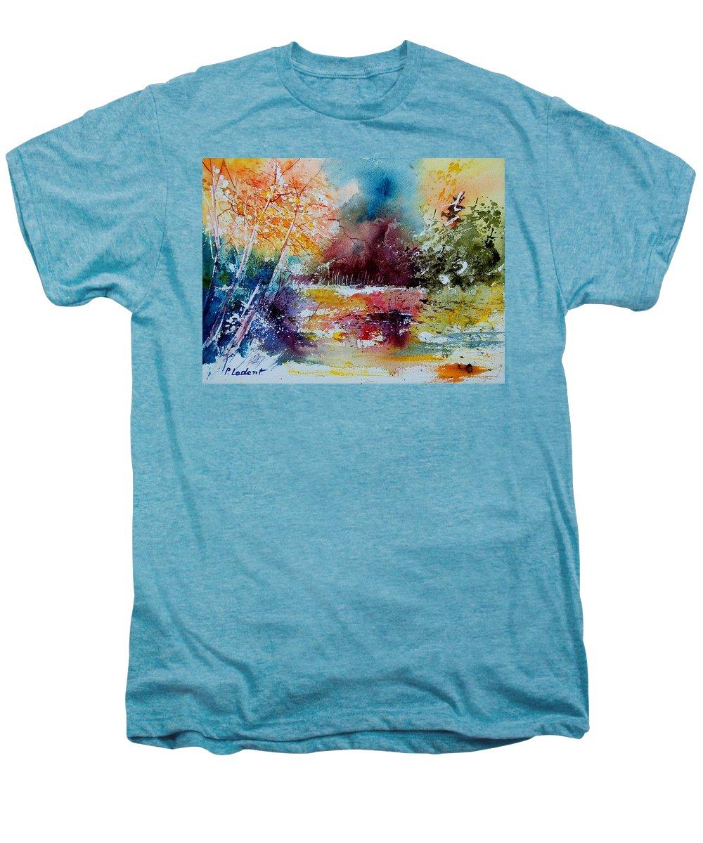 Pond Men's Premium T-Shirt featuring the painting Watercolor 140908 by Pol Ledent