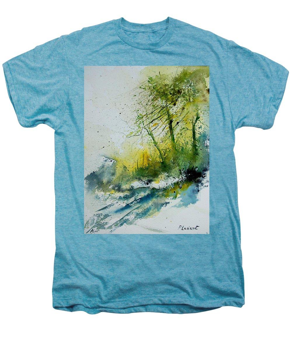 River Men's Premium T-Shirt featuring the painting Watercolor 181207 by Pol Ledent