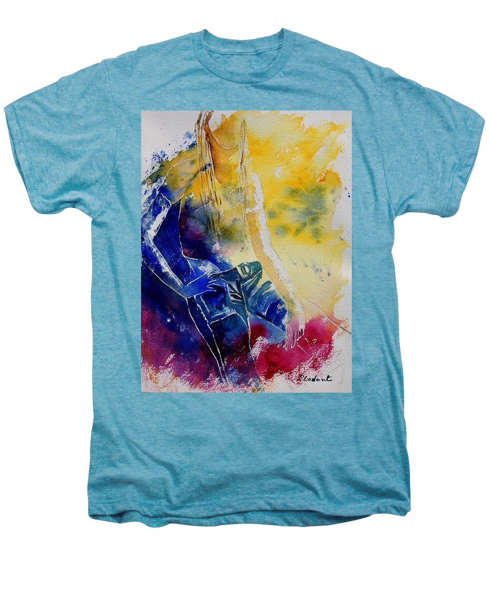 Girl Nude Men's Premium T-Shirt featuring the painting Watercolor 21546 by Pol Ledent