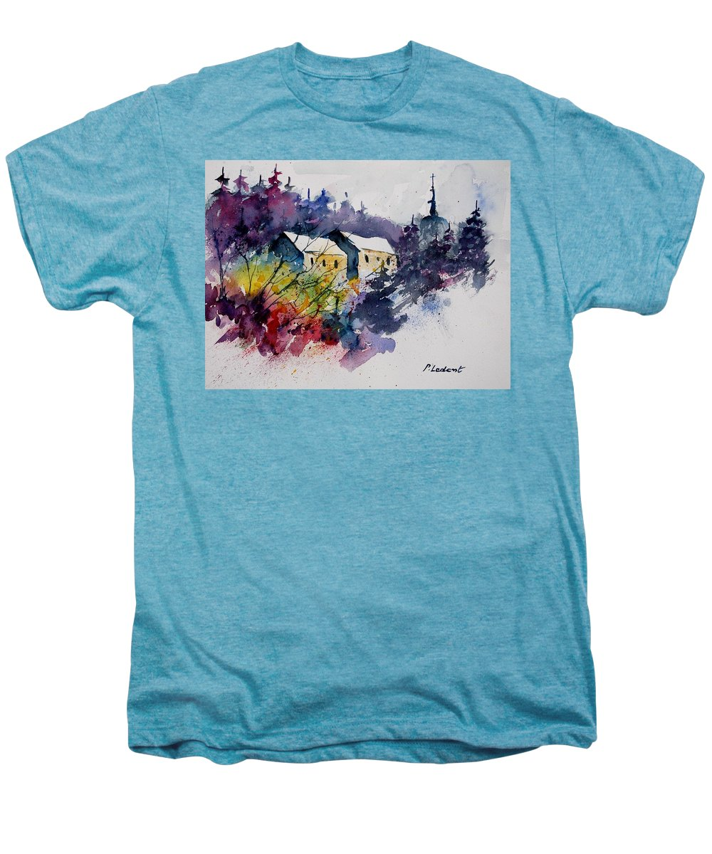 River Men's Premium T-Shirt featuring the painting Watercolor 231207 by Pol Ledent