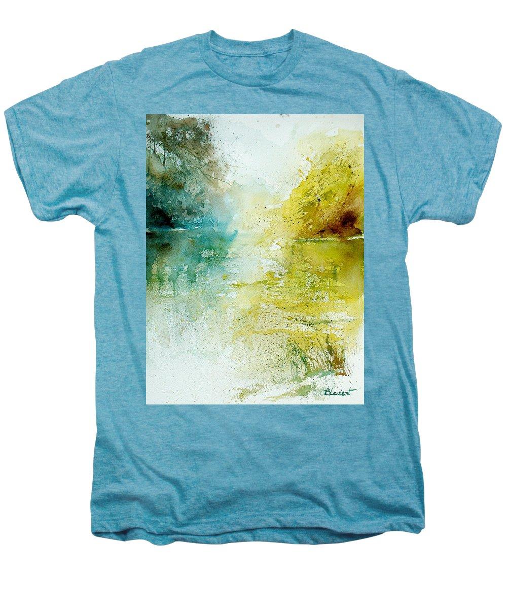 Pond Nature Landscape Men's Premium T-Shirt featuring the painting Watercolor 24465 by Pol Ledent