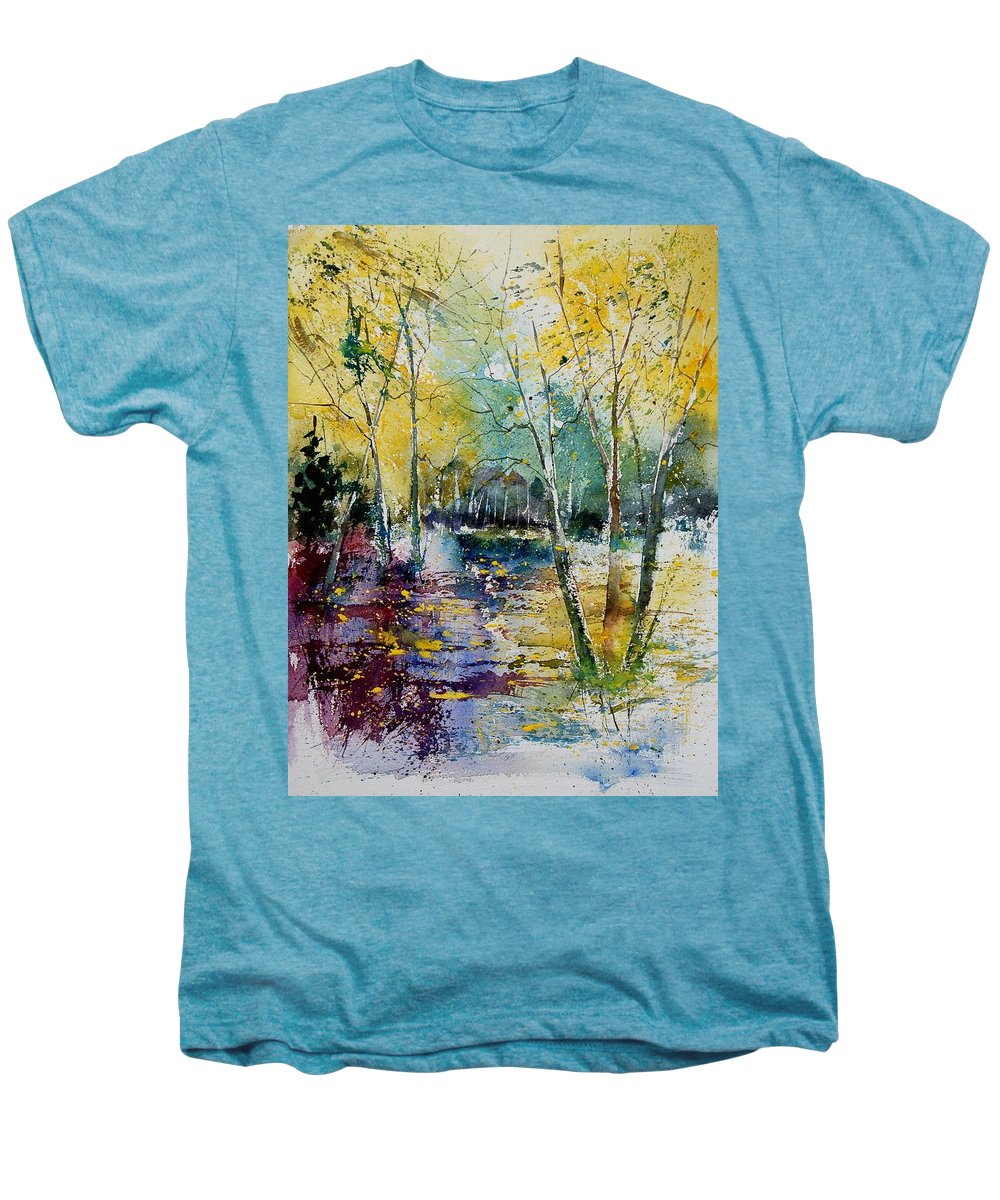 Pond Men's Premium T-Shirt featuring the painting Watercolor 280809 by Pol Ledent
