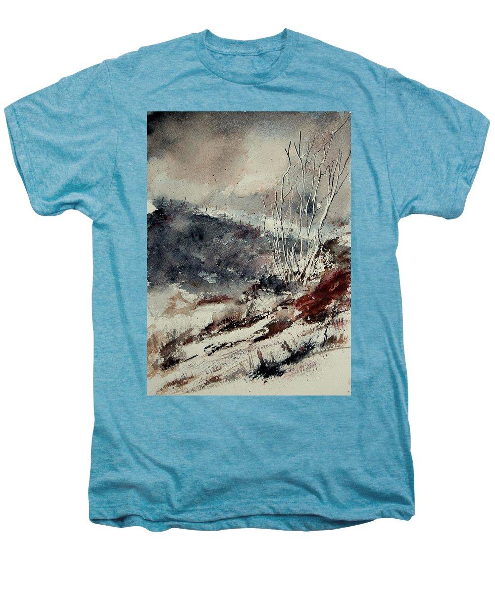 Snow Men's Premium T-Shirt featuring the print Watercolor 446 by Pol Ledent