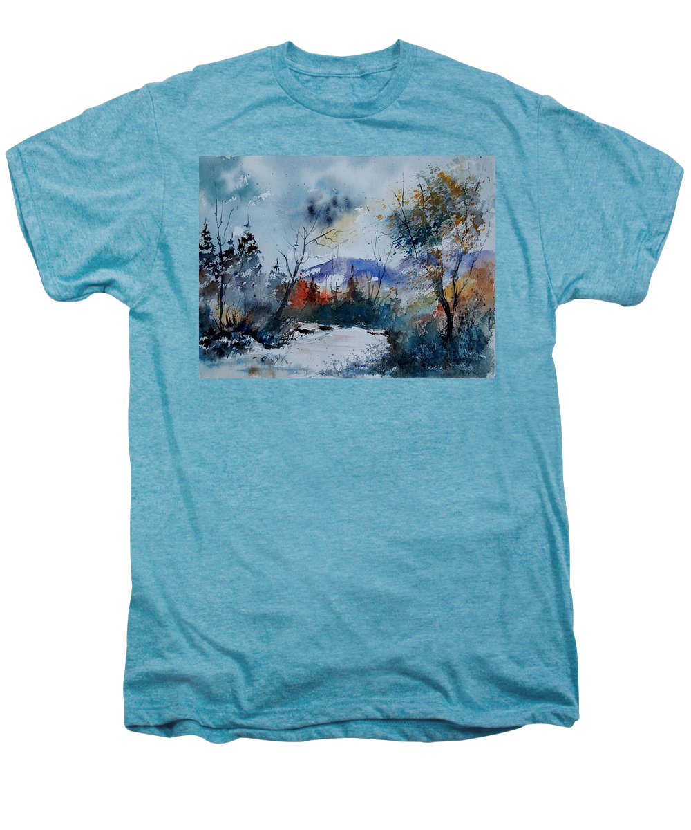 Landscape Men's Premium T-Shirt featuring the painting Watercolor 802120 by Pol Ledent