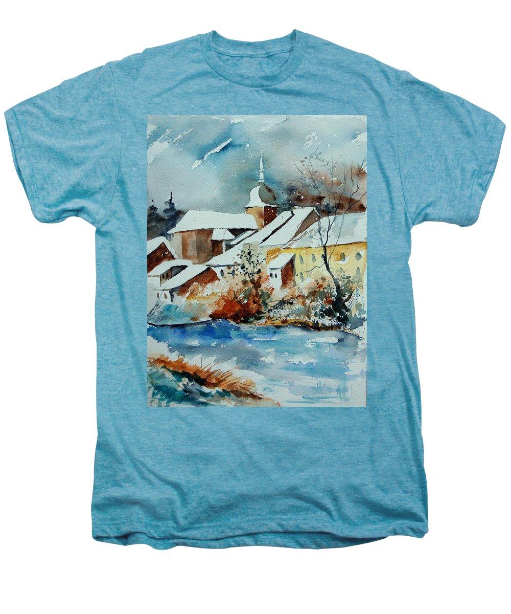 Landscape Men's Premium T-Shirt featuring the painting Watercolor Chassepierre by Pol Ledent