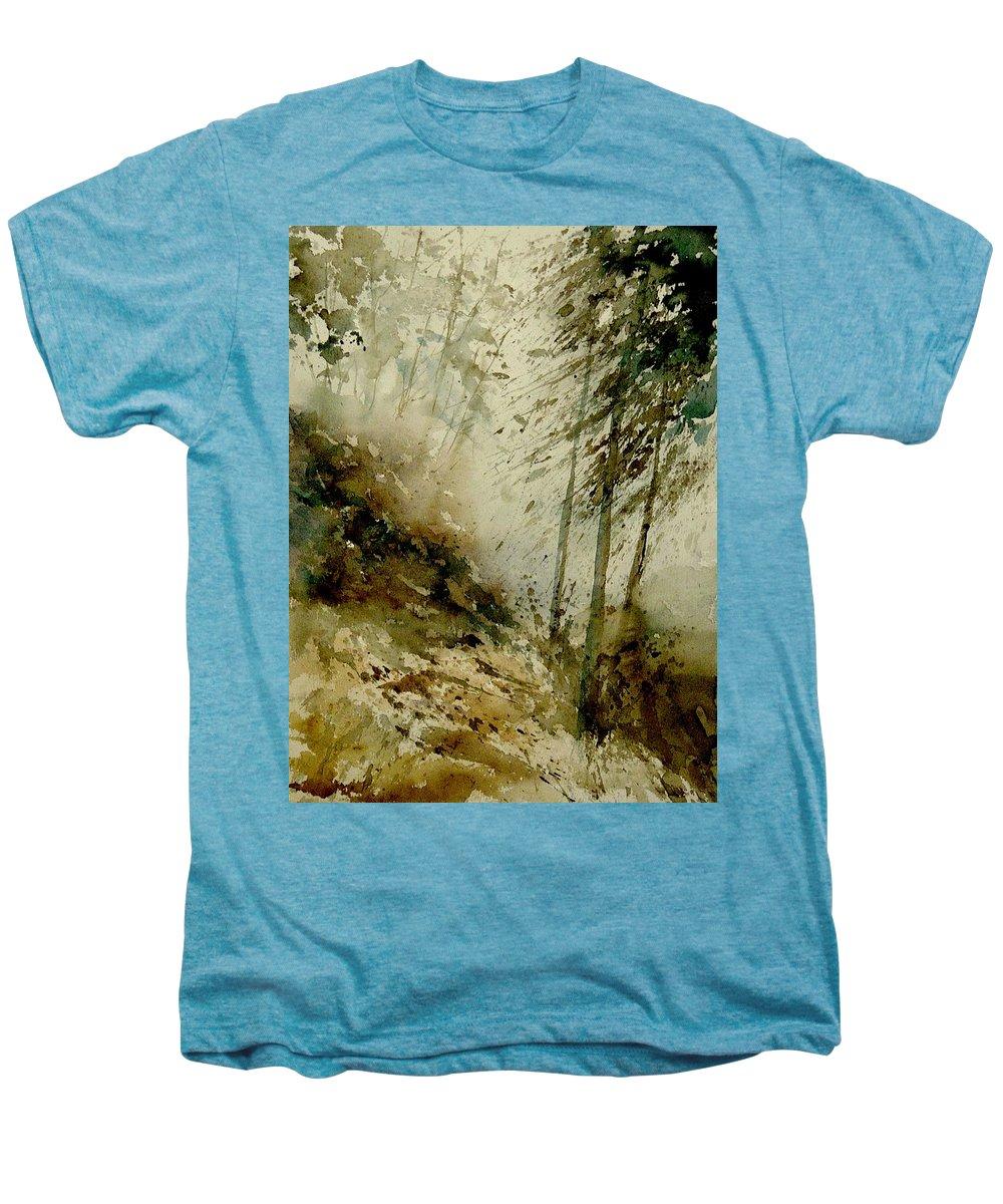 Landscape Men's Premium T-Shirt featuring the painting Watercolor Misty Atmosphere by Pol Ledent