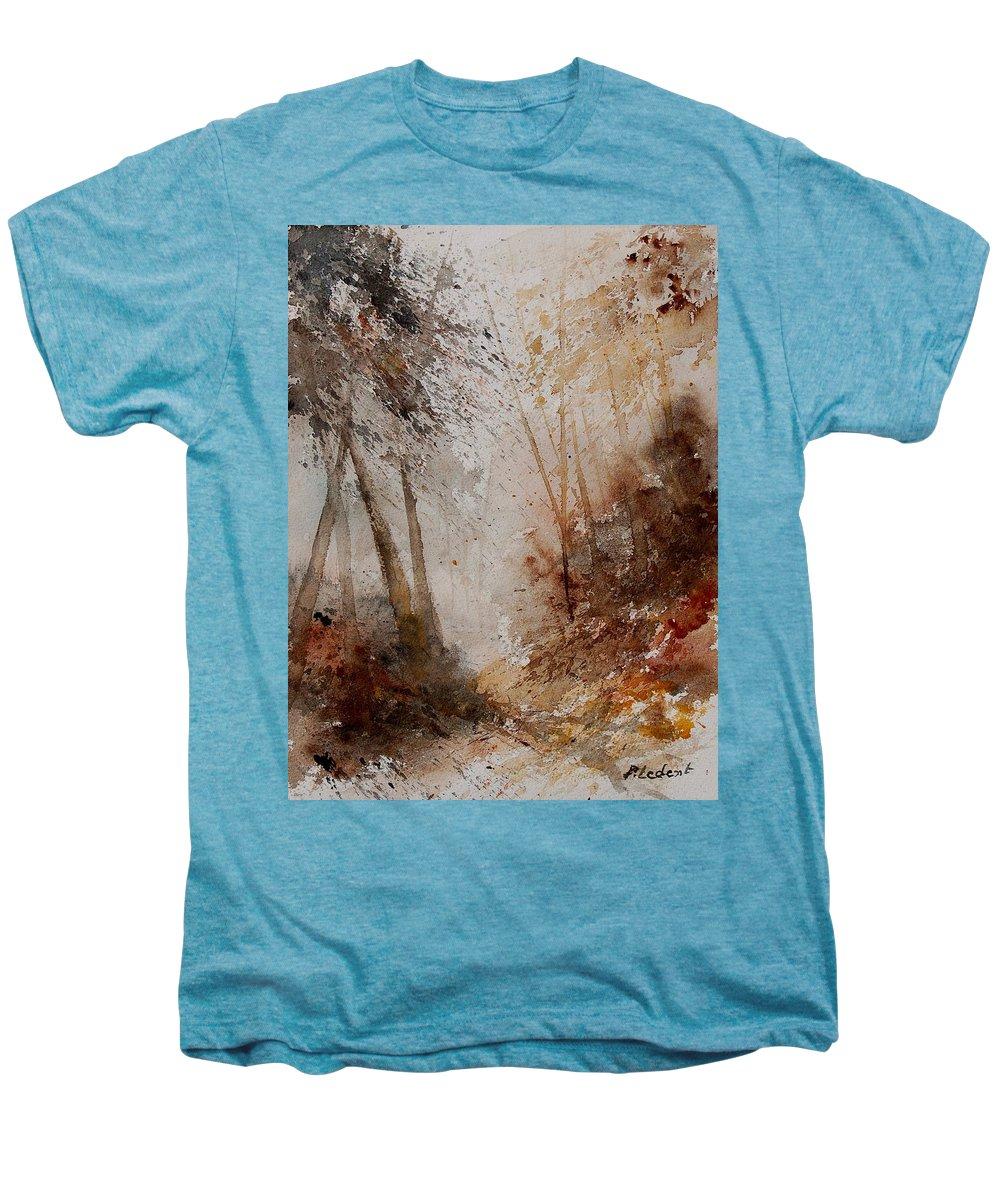 Landscape Men's Premium T-Shirt featuring the painting Watercolor Misty Path by Pol Ledent