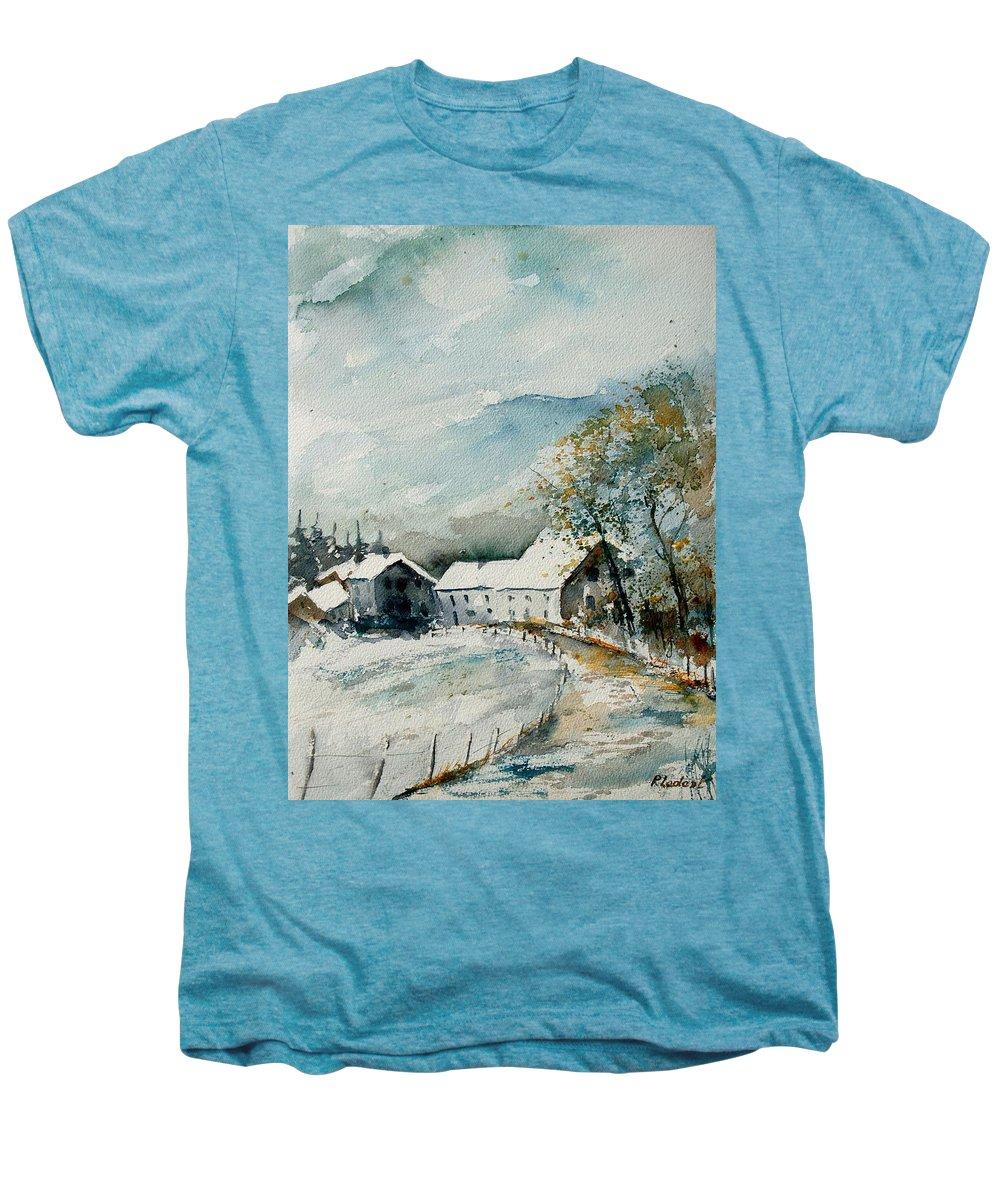 River Men's Premium T-Shirt featuring the painting Watercolor Sechery 1207 by Pol Ledent