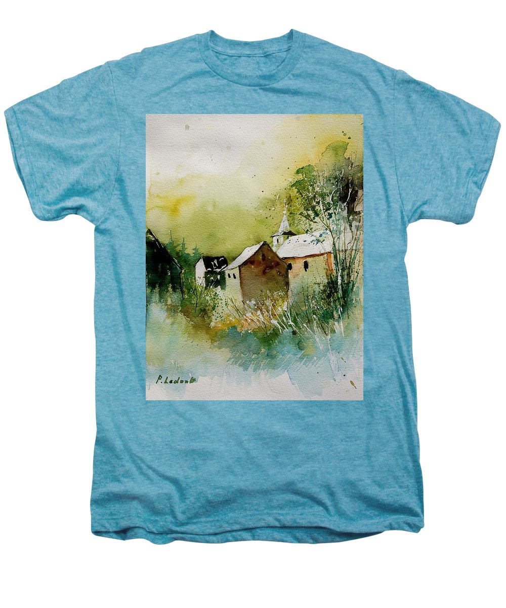 Landscape Men's Premium T-Shirt featuring the painting Watercolor Sosoye by Pol Ledent