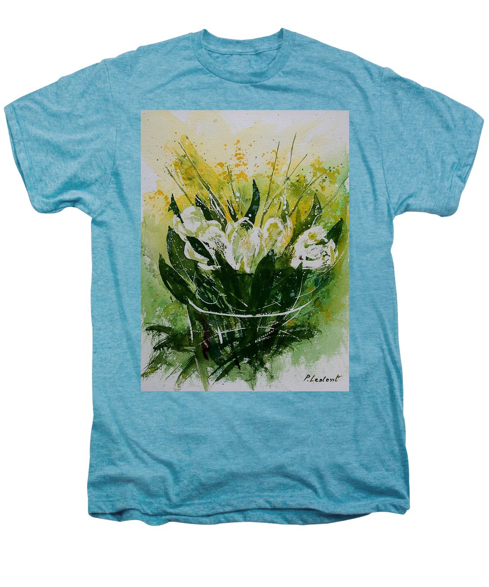 Flowers Men's Premium T-Shirt featuring the painting Watercolor Tulips by Pol Ledent
