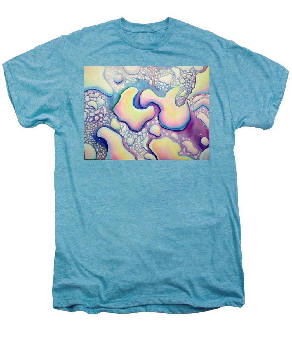 Water Men's Premium T-Shirt featuring the painting Waterdrop Dance by Nancy Mueller