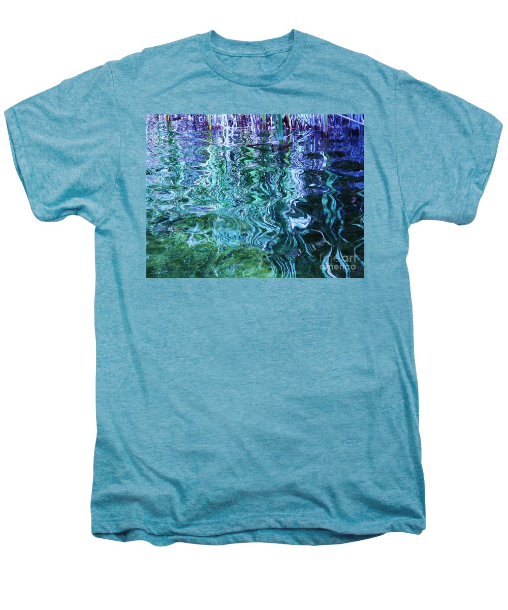 Photograph Blue Green Weed Shadow Lake Water Men's Premium T-Shirt featuring the photograph Weed Shadows by Seon-Jeong Kim