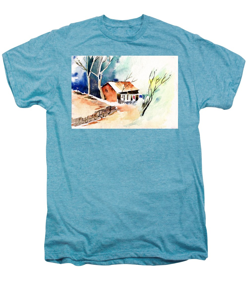 Nature Men's Premium T-Shirt featuring the painting Weekend House by Anil Nene