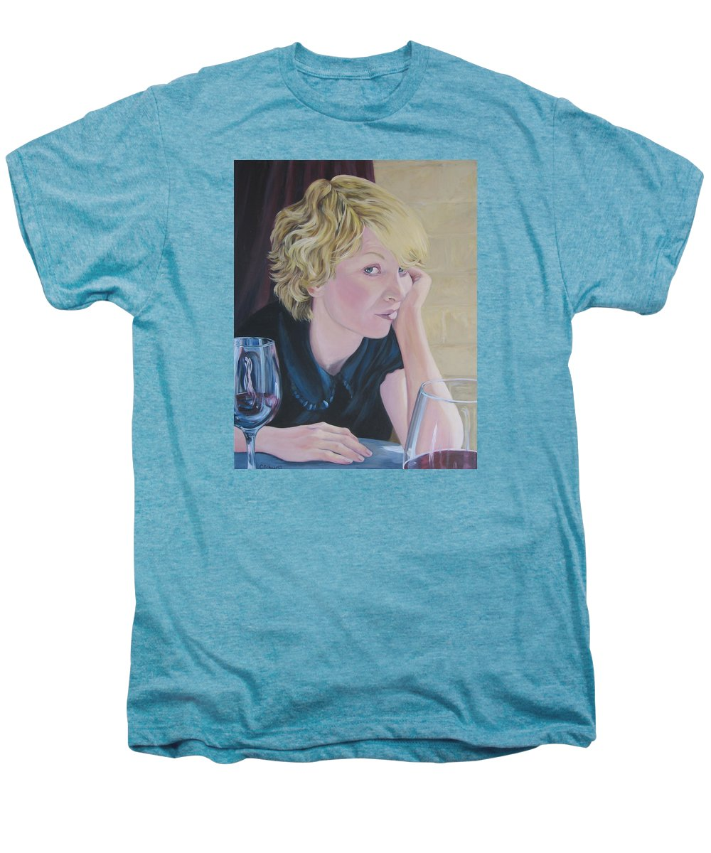 Portrait Men's Premium T-Shirt featuring the painting Well by Connie Schaertl