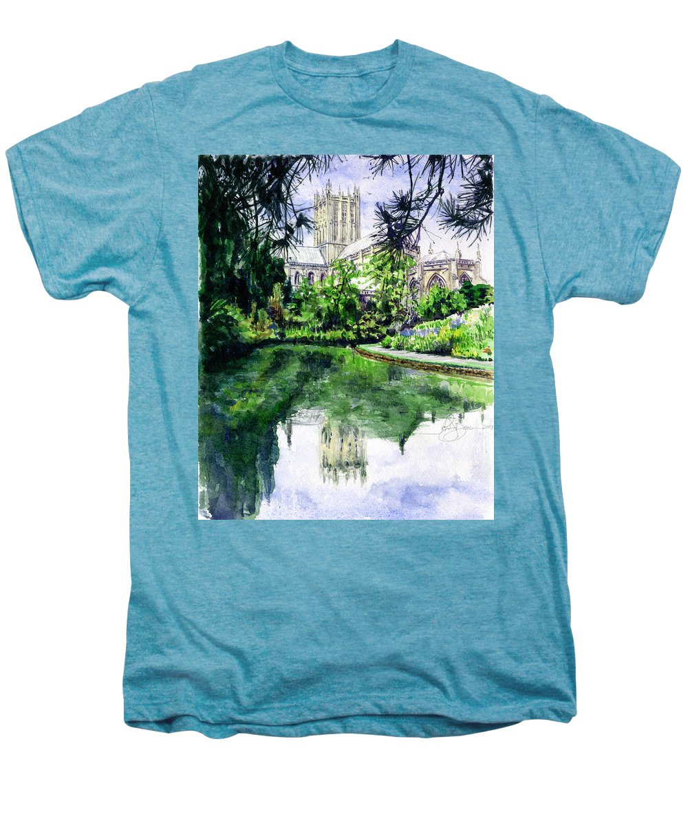 Wells Men's Premium T-Shirt featuring the painting Wells Cathedral by John D Benson