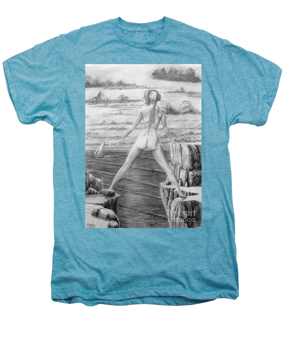 Nude Men's Premium T-Shirt featuring the drawing Wendy From Memory. by Murphy Elliott