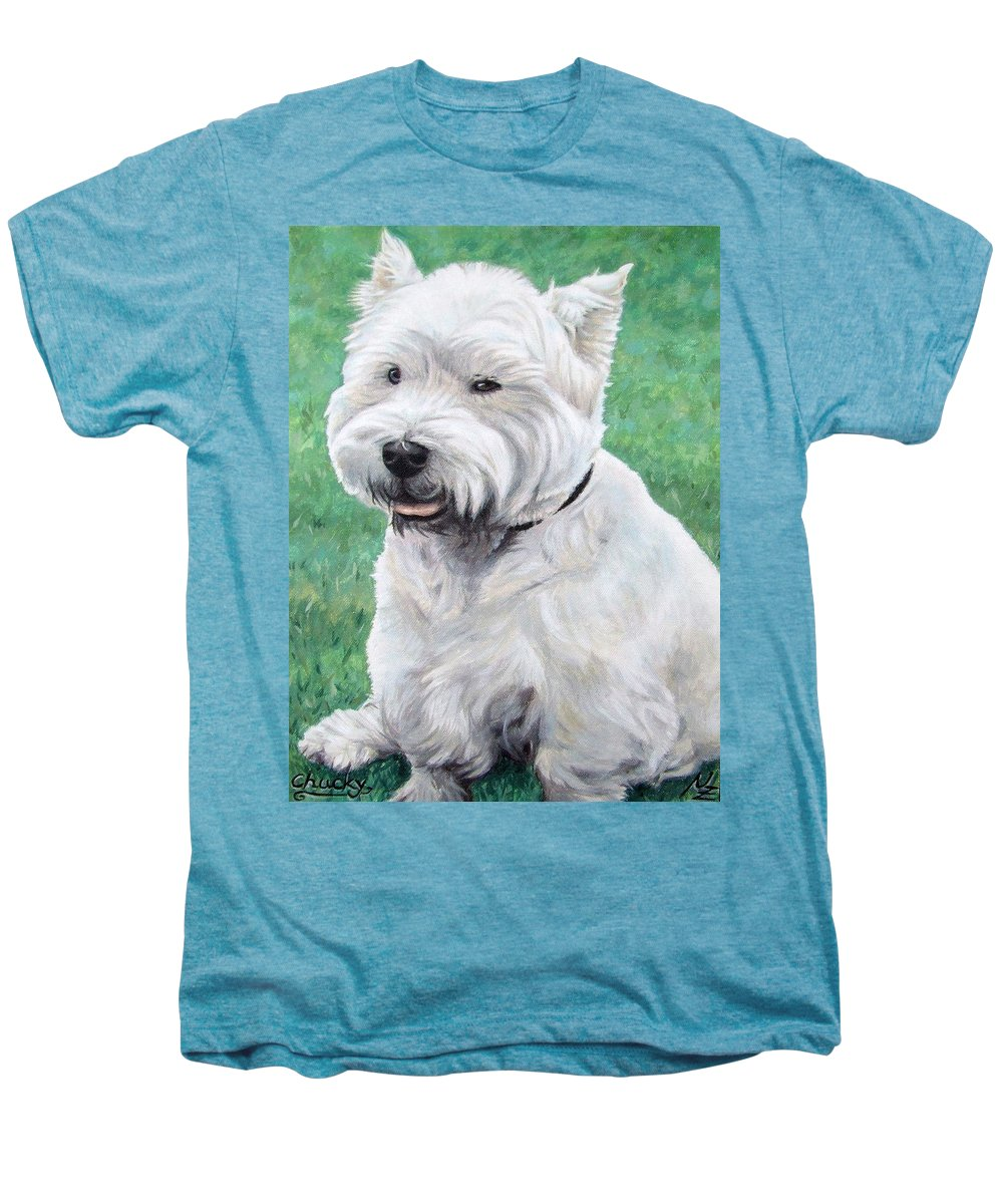 Dog Men's Premium T-Shirt featuring the painting West Highland Terrier by Nicole Zeug