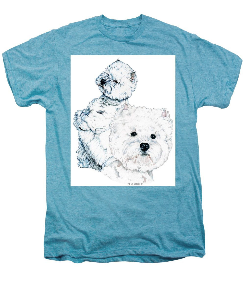 West Highland White Terrier Men's Premium T-Shirt featuring the drawing West Highland White Terriers by Kathleen Sepulveda