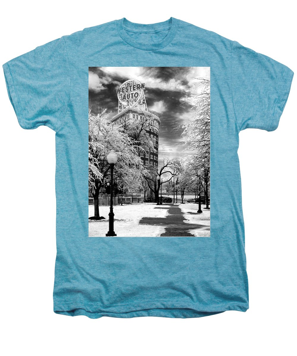 Western Auto Kansas City Men's Premium T-Shirt featuring the photograph Western Auto In Winter by Steve Karol