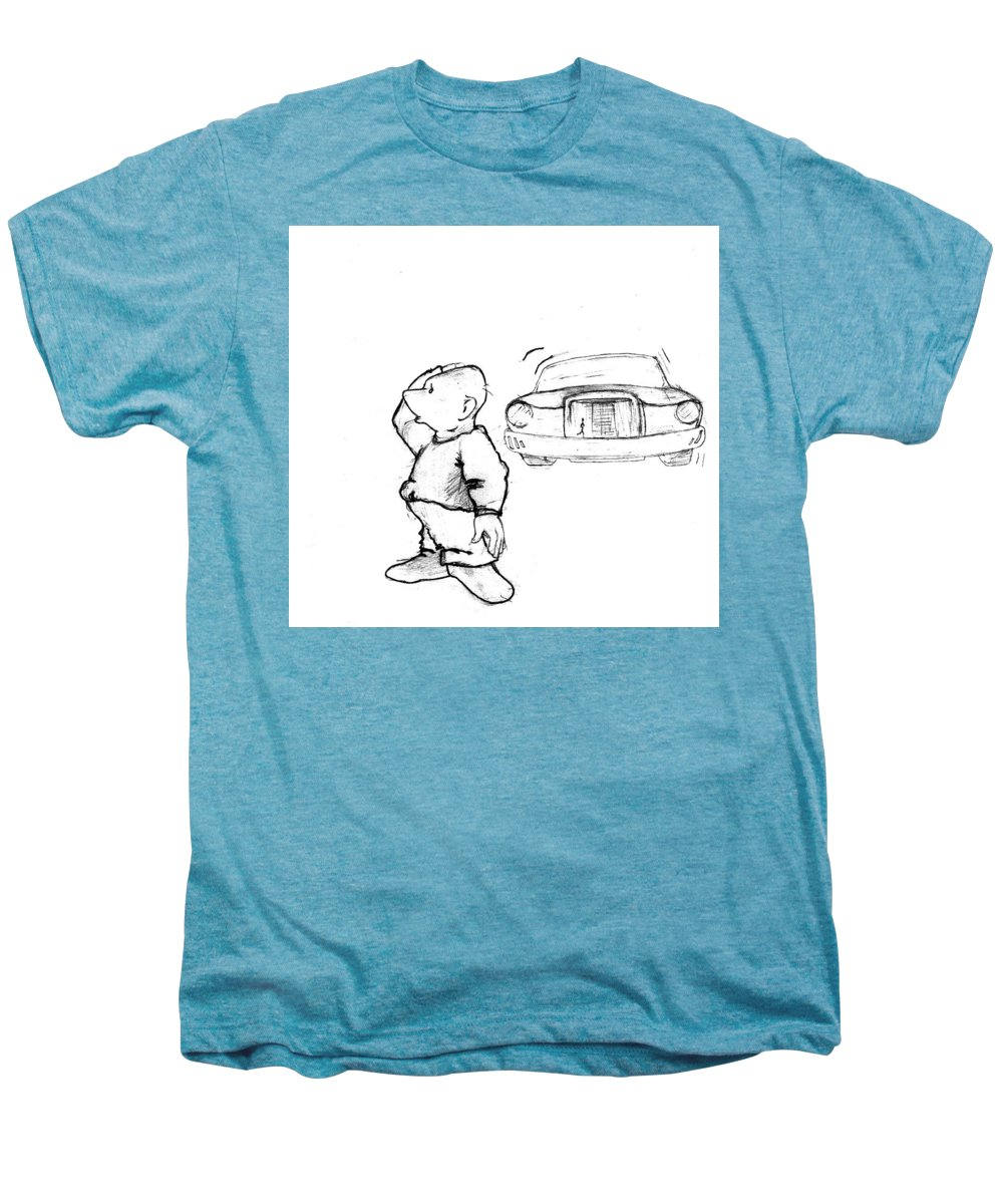Man Men's Premium T-Shirt featuring the drawing Where I Am... by Line Gagne