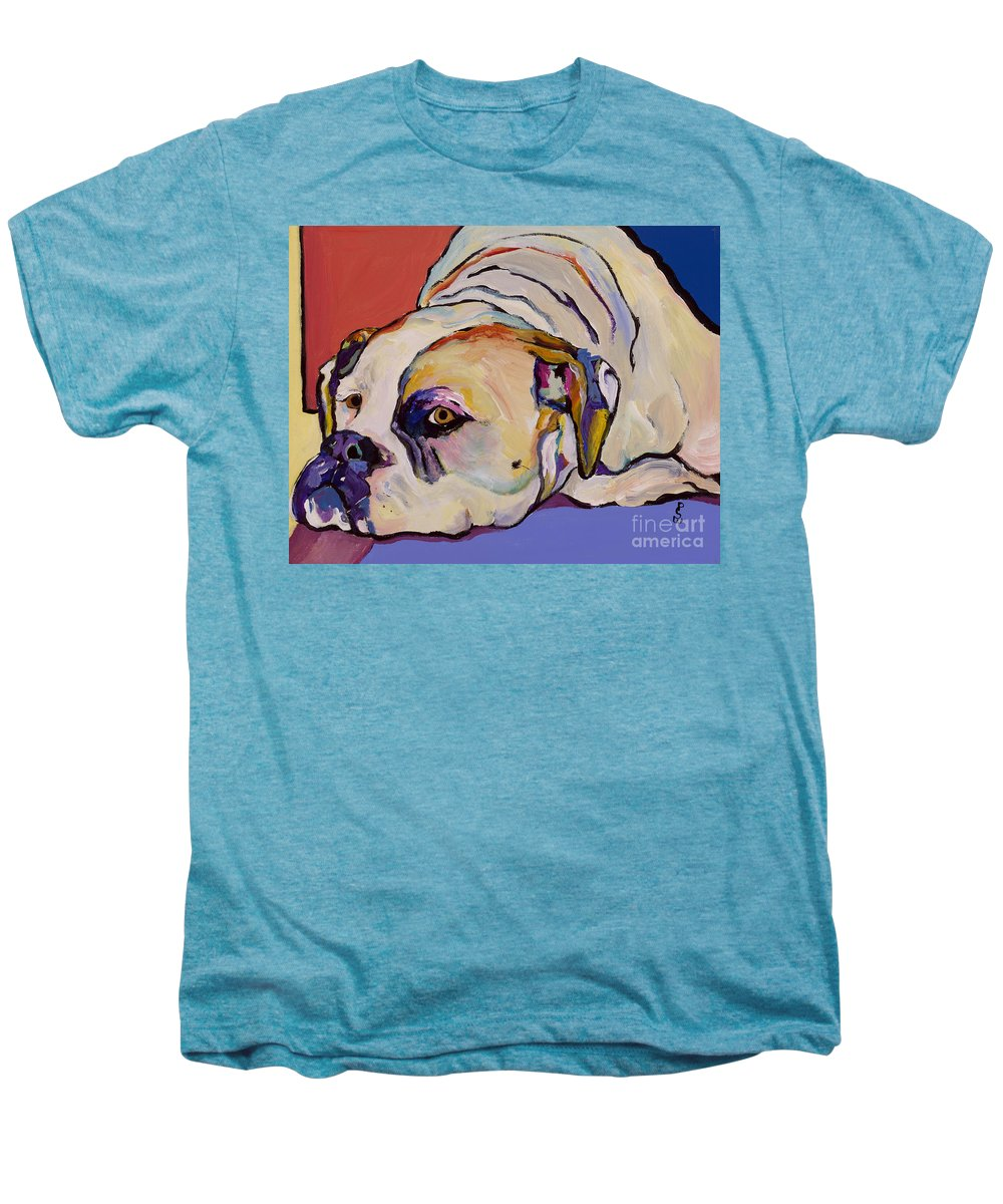 American Bulldog Men's Premium T-Shirt featuring the painting Where Is My Dinner by Pat Saunders-White