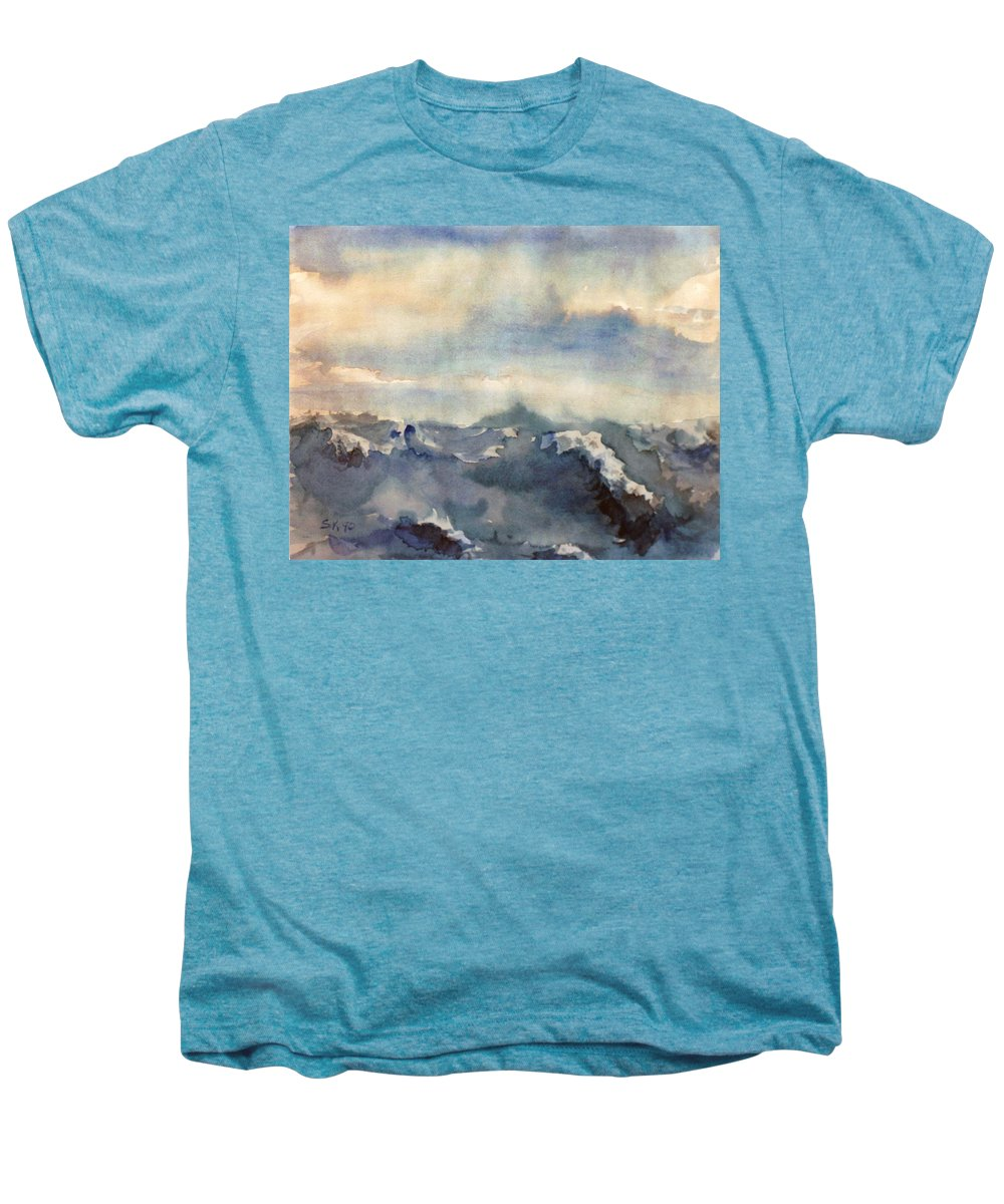 Seascape Men's Premium T-Shirt featuring the painting Where Sky Meets Ocean by Steve Karol