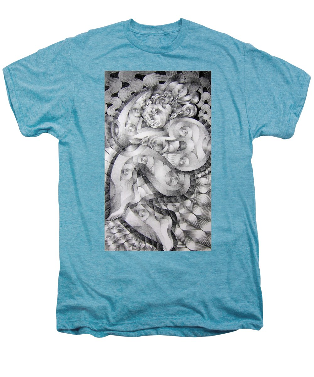 Art Men's Premium T-Shirt featuring the drawing Whim by Myron Belfast