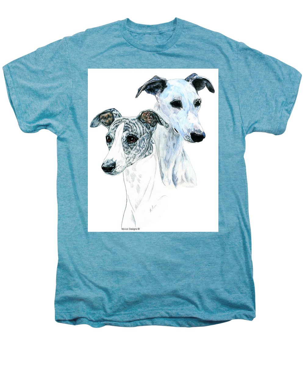 Whippet Men's Premium T-Shirt featuring the painting Whippet Pair by Kathleen Sepulveda