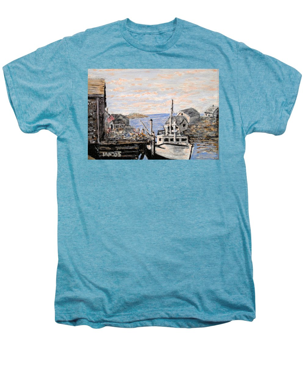 White Men's Premium T-Shirt featuring the painting White Boat In Peggys Cove Nova Scotia by Ian MacDonald