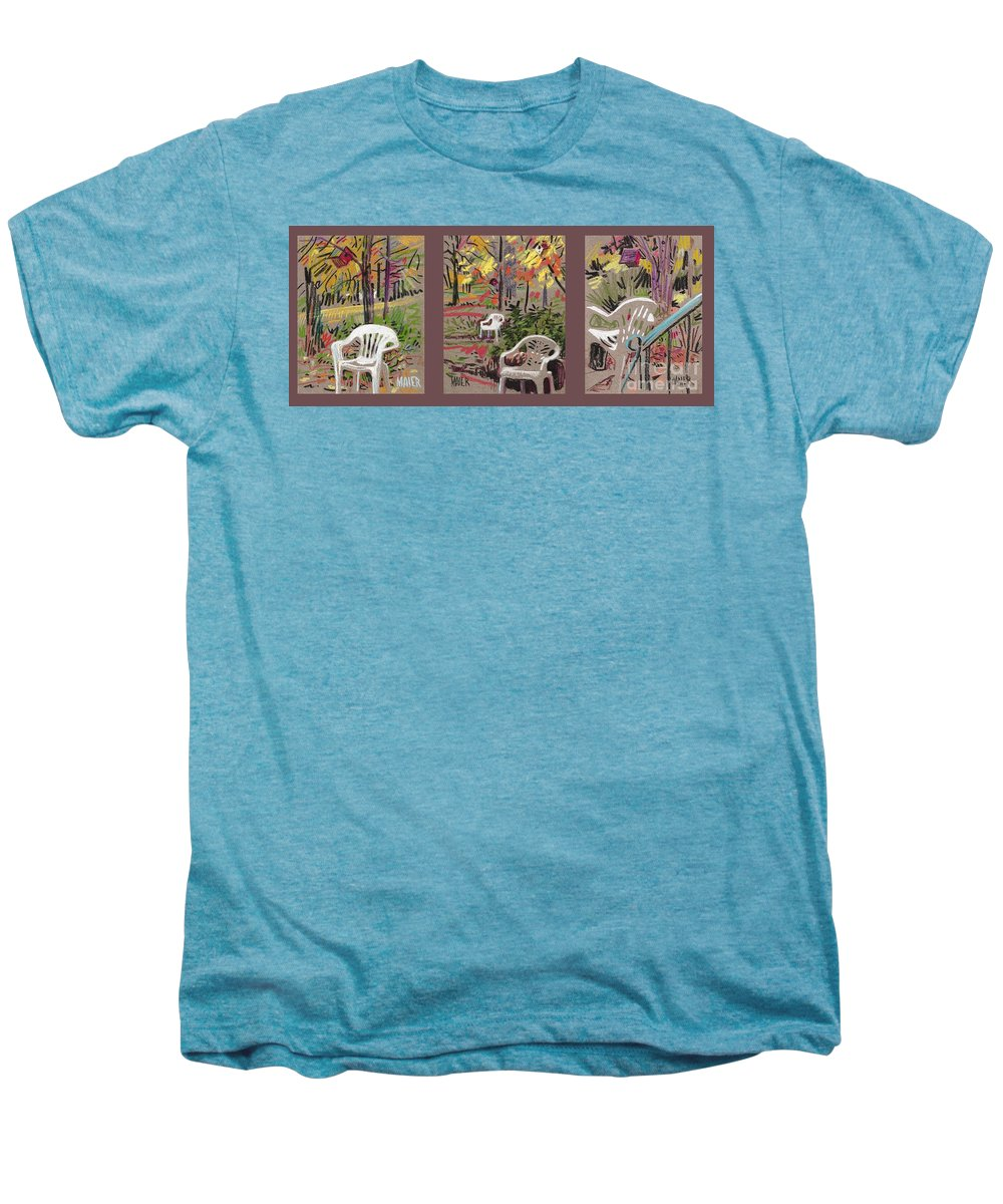 Pastel Men's Premium T-Shirt featuring the drawing White Chairs And Birdhouses 1 by Donald Maier