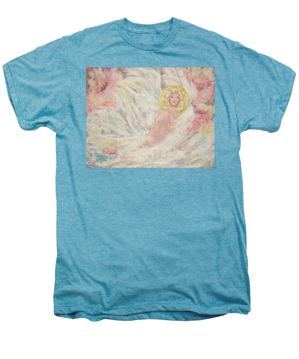 Angel Men's Premium T-Shirt featuring the painting White Feathers Secret Garden Angel 4 by Natalie Holland
