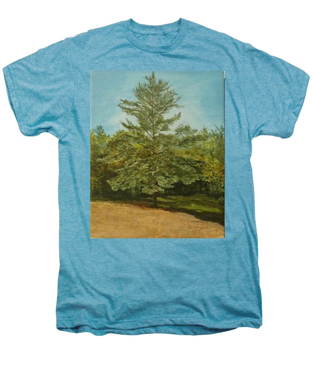 Pine Tree Men's Premium T-Shirt featuring the painting White Lake by Leah Tomaino