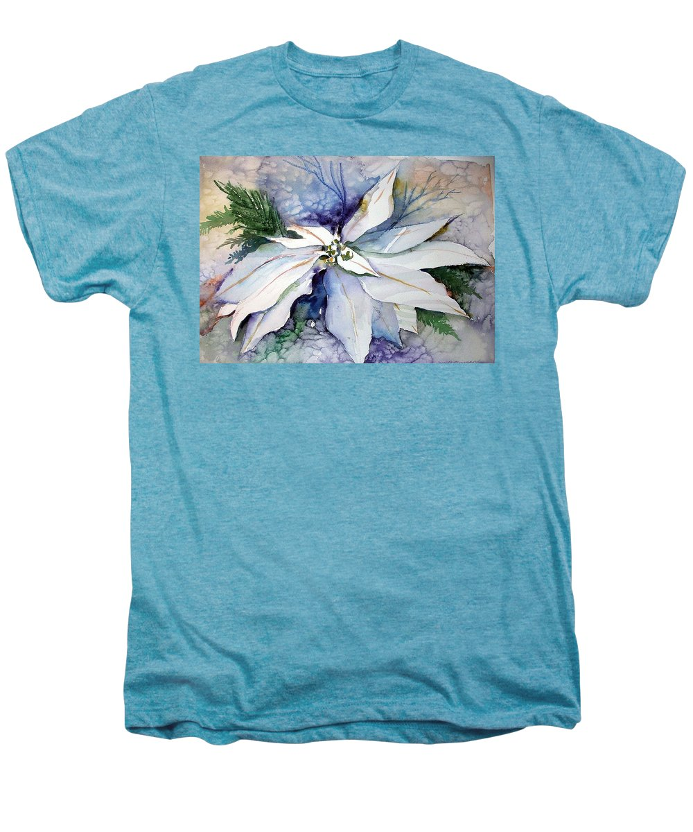 Floral Men's Premium T-Shirt featuring the painting White Poinsettia by Mindy Newman