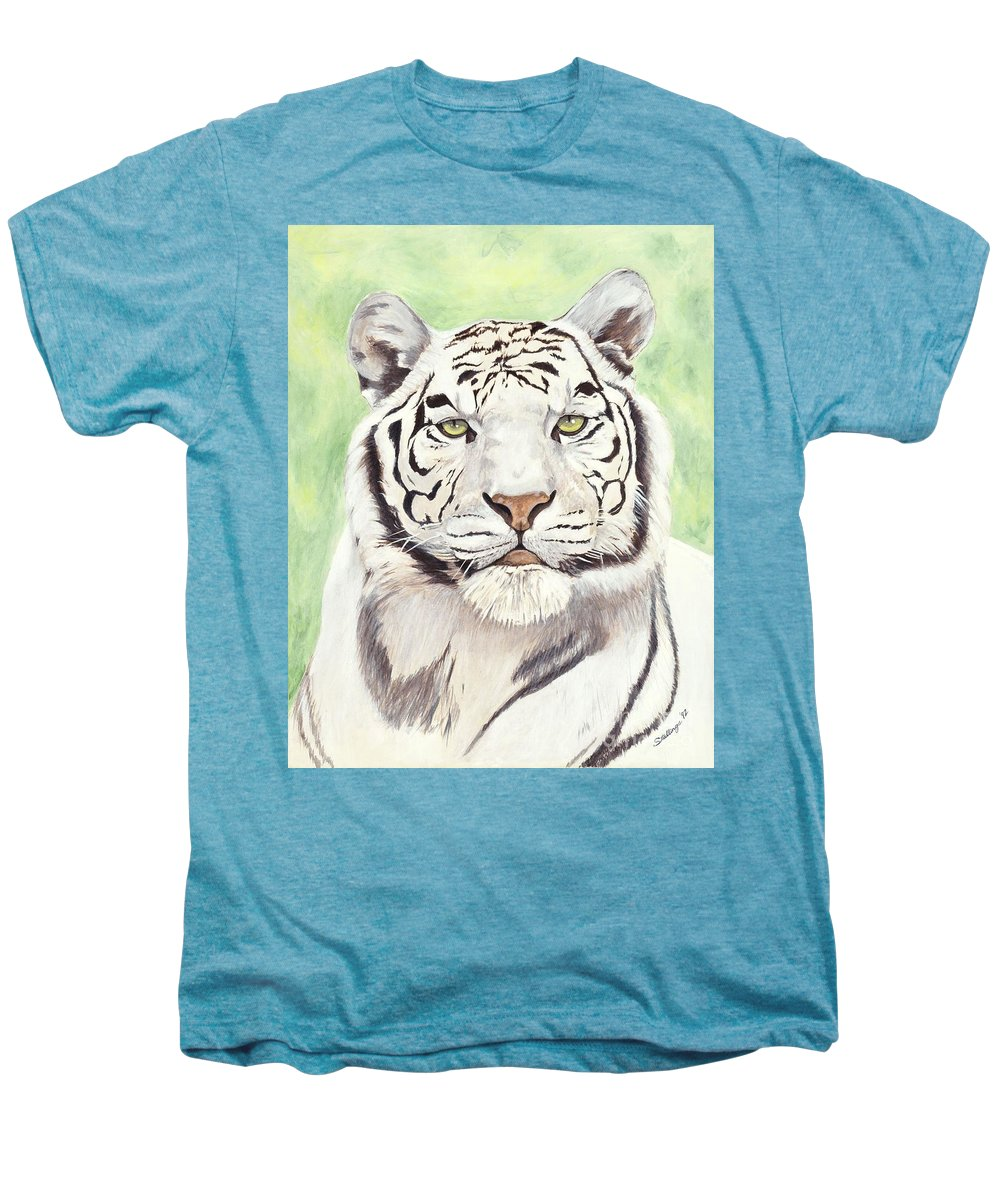 Tiger Men's Premium T-Shirt featuring the painting White Silence by Shawn Stallings