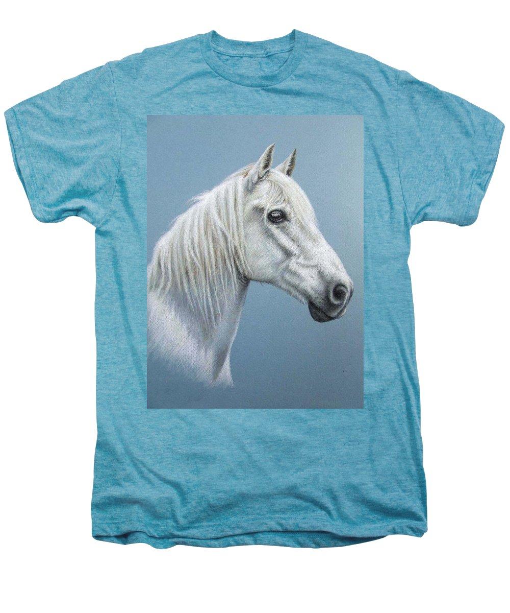 Horse Stallion White Pferd Portrait Animal Realism Pastel Men's Premium T-Shirt featuring the pastel White Stallion by Nicole Zeug